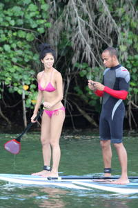 Nicole Scherzinger sexy bikini surfing in Hawaii